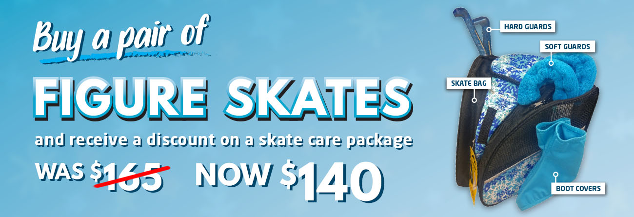 An Image of a shop offer, Buy a pair of figure skates and receive a discount on a skate care package, with an image of the care package to the right.