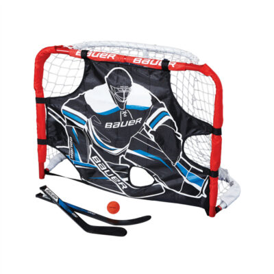 Bauer Knee Hockey Set Containing a Net, Goalie Attachment, Mini Sticks and Foam Ball.