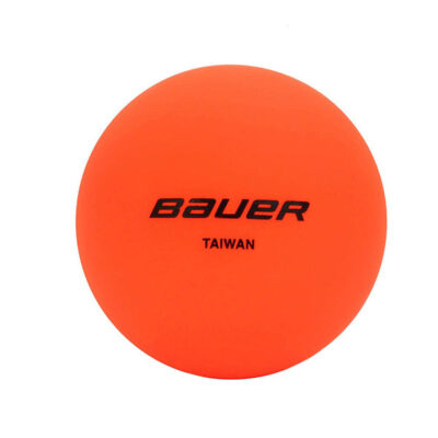 Orange bauer hockey ball with no bounce effect.